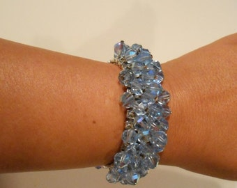 Opulence Enters the Room - Vintage 1950s Blue Facet Cut Crystal Expandable Bracelet