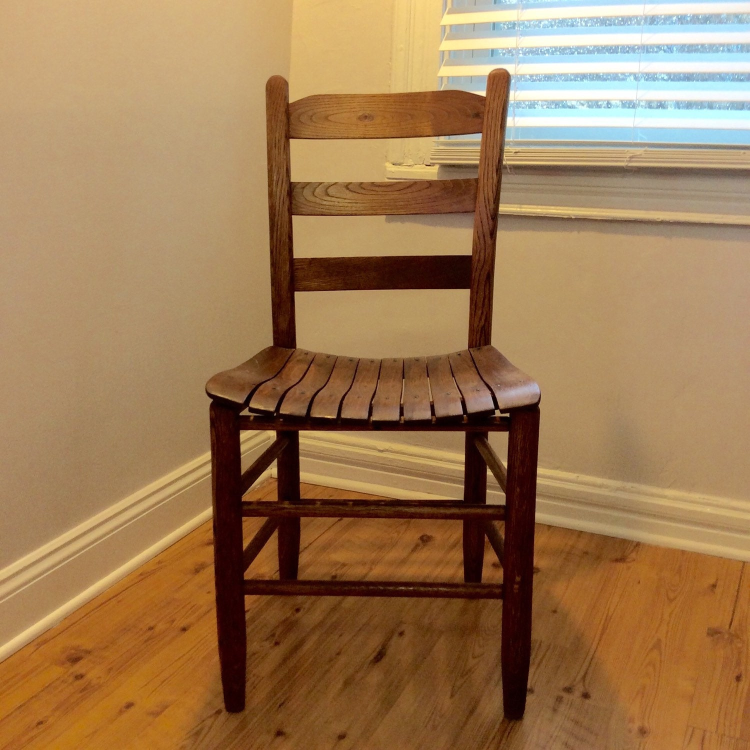 Antique Ladder Back Chair with a Slat Seat, Rustic Americana Shaker Style  Seat, Desk Chair, Accent Chair, Rustic Wood Chair - Antique Ladder Back Chair With A Slat Seat, Rustic Americana Shaker