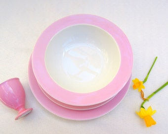 vintage pink limoges place setting with egg cup.french.2 plates.bowl.bridal.baby gift.tessiemay vintage