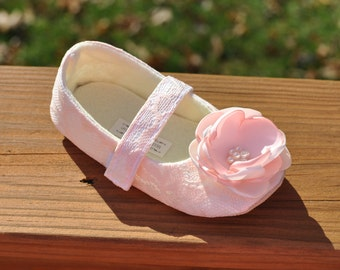 Toddler Girl Shoes Baby Girl Shoes Soft Soled Shoes Blush Lace Wedding Shoes Easter Shoes Flower Girl Shoes Ivory Blush Shoes - Juliette