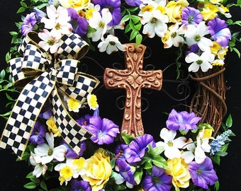 Religious Spring Summer Easter  Wreath    FOR The LOVE Of CHRIST