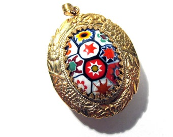 Murano Millefiori Pendant Watch Case VINTAGE 1970s Oval Gold Venetian Glass Watch Case Vintage Jewelry Watch Making Supplies (D2)