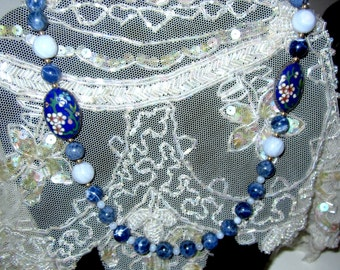 1940s Chinese Export Sodalite Bead  Necklace