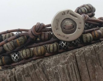 triple wrap bracelet - greys and pewters - FAST n FREE SHIPPING!!!