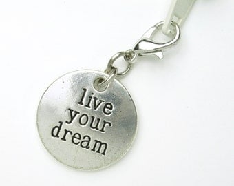 Small graduation gift with quote -clip on zipper charm for embellishing bags, hoodies, and more