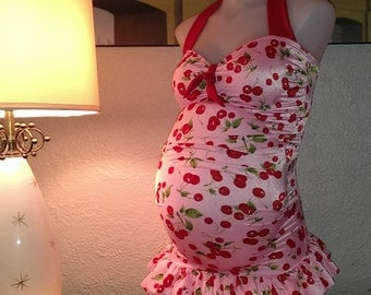 Pink Cherry Maternity swimsuit Vintage inspired  Swimdress in Pink Cherry with Scarlet accents Liz boy cut bottoms in Scarlet