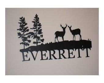 Personalized Sign With Deer In The Trees