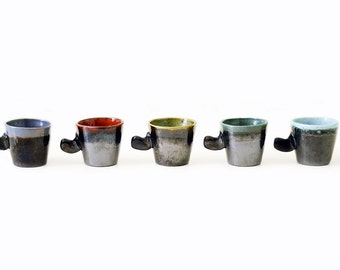 Shot Glasses | Vintage | Glazed Earthenware | Five | Multi Color