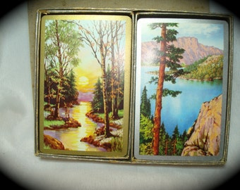 Vintage Congress Playing Cards Dual Deck with  Trees.