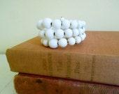 Vintage Wrap Bracelet - White Glass Beads - Costume Jewelry