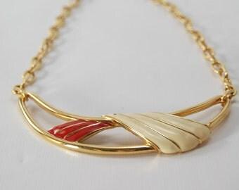 Vintage gold enamel necklace