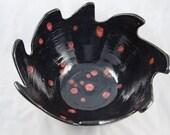 Large Black, Red, Serving, Fruit, Center Piece Bowl