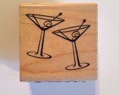 CHRISTMAS in JULY SALE Double Martini Rubber Stamp from Inkadinkado // Brand New