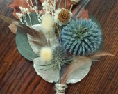 Natural Wedding Boutonniere - Rustic Woodland Ecofriendy Autumn Winter Fall Orange Blue Thistle Oak Leaf Dried Flowers Feathers Baby Breath
