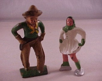 2 Vintage Lead Figure Toys - Cowboy and Ice Skater