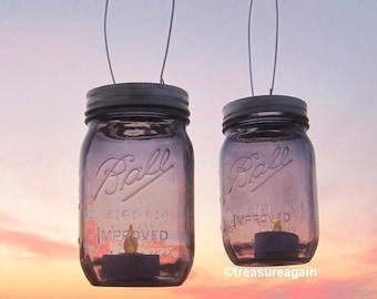 Purple Mason Jars Lanterns or Vases, Wedding Mason Jars, Ball Hanging Lanterns, 2 NEW 2015 Ball Purple Jars Heritage Collection