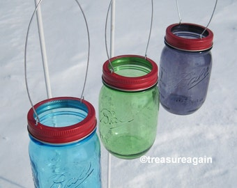 Hanging Mason Jar Red Lids DIY Garden Lights, Hanging Outdoor Lighting or Flower Vase, No Jars