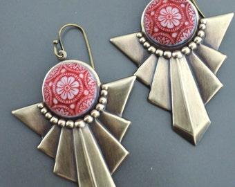 Vintage Earrings - Art Deco Earrings - Red Earrings - Vintage Brass Jewelry - Chevron Earrings - handmade earrings