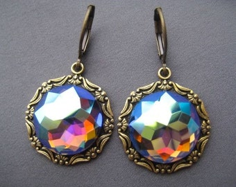 Rare Vintage Glass Stone Earrings - Rhinestone Earrings - Vitrail Earrings - Antique Style Jewelry - Iridescent Glass Earrings