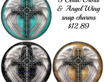 Angel Wings and Celtic Cross snap charms. 3 x 20 mm snaps fit Noosa or Gingersnap style chunk charm jewelry