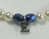 Reserved for Theresa Flower Girl Gift Swarovski Ivory Pearl Initial Bracelet and Necklace Sterling Silver Firepolished Blue Glass B117