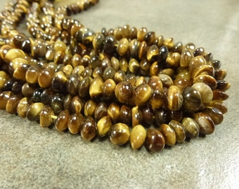 Tiger's Eye Gemstone Saucer Strand 5-7mm 14""