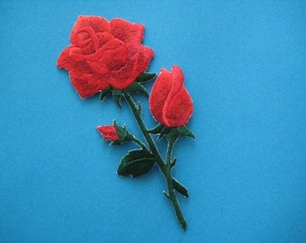 Iron-On embroidered Patch Red Roses 4.75 inch