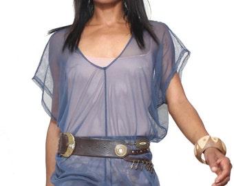 Sheer Mesh Textile Tunics in Slate Blue