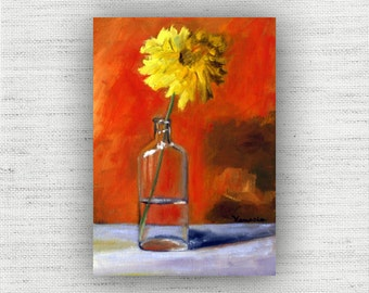 Floral Painting Print of Still Life Oil Painting Flower Home Decor Wall Art - Yellow Kitchen Decor, Unique Dining Room Art Print Wood Block