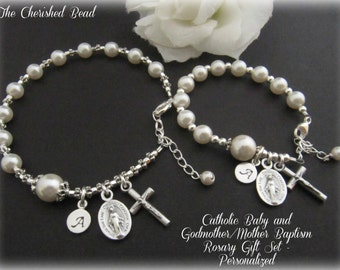 Catholic Baby Baptism Godmother/Baby Rosary Bracelet Set - Personalized with Sterling Silver Monogram Charms