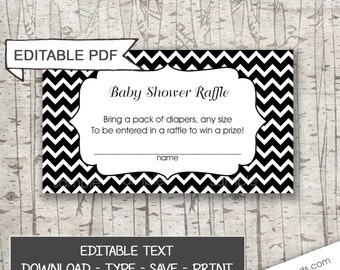 You EDIT Black White Chevron Diaper Raffle Tickets / neutral gender baby shower games, editable pdf / you edit the wording, instant download