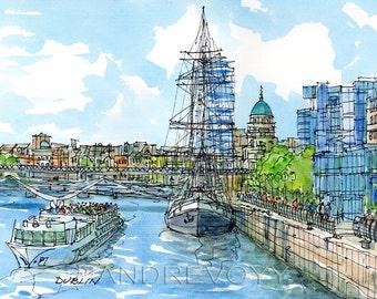 DUBLIN art print from an original watercolor