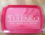 "Personalized Laser Engraved Pyrex Baking Dish with Lid 11""x7""  Wedding anniversary Custom Name"