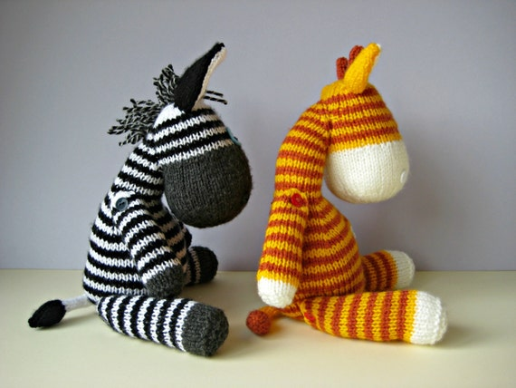 Gerry Giraffe and Ziggy Zebra toy knitting patterns from fluffandfuzz on Etsy...