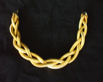 Gold Tone Braided Necklace - Choker - Large - Vintage - Fashion Statement - Gifts #1091