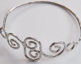 Vintage Hammered Silver Metal Bracelet