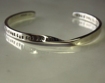 Mobius PERSONALIZED (with 90 characters or less) cuff. Text hand stamped on solid sterling silver strip 4mm/5mm x 2mm. Great Gift Adjustable