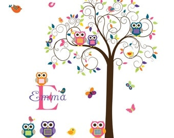 Vinyl Wall Decal  Nursery Wall Decal  Children Room Wall Decal - Wall Decals Girls Room - Swirl Tree Decal
