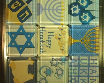 Hanukkah Decorations Refrigerator Magnets Set of 9 with Storage Tin