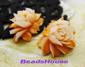 New: 2 pcs Pretty Cabbage Rose Cabochon,Deep Orange / White