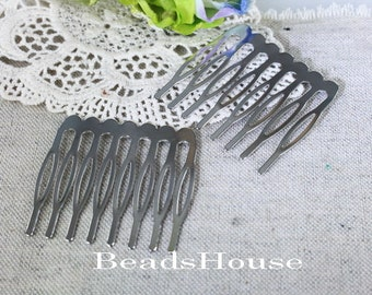 6pcs Silver Plated Hair Comb,Hair Barretles w/8 Pins, NICKEL FREE