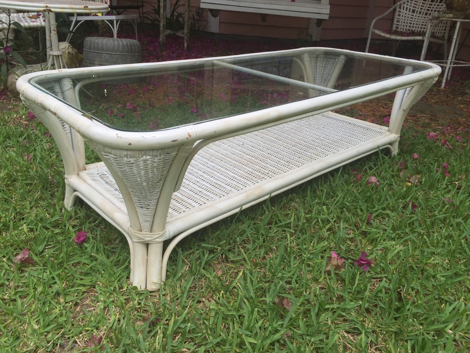White wicker coffee table living room porch or patio coffee table wicker and glass rattan coffee Patio coffee tables