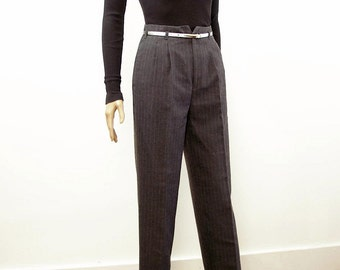 1980s Pleat Front Slacks Vintage High Waist Gray Pinstripe Cuffed Pants Trousers / Small