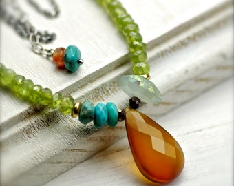 Rust Orange Chalcedony Asymmetric Multi Gemstone Necklace in Oxidized Sterling Silver One of a Kind