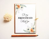 Bridesmaid Thank you card. Modern typography greeting thank you. Floral Maid of Honor thank you note. BT402