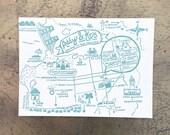 Letterpress Wedding Maps - San Francisco Bay Area