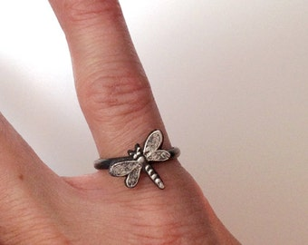 Dragonfly Ring, Petite Fine Silver Dragonfly on Sterling Band