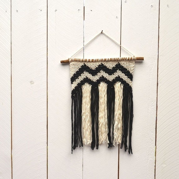 Crochet Wall Hanging : Fringe Wall Hanging Crochet Chevron Black White Striped Woven Cotton ...