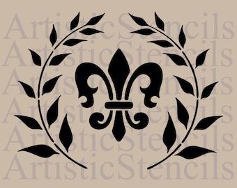 STENCIL French Fleur de lis in Wreath 8x6