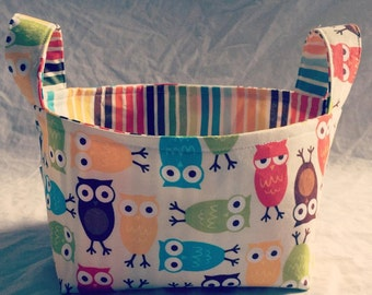 Fabric basket- Owl Basket- Owl Decor- Owl Baby Gift- Owl Nursery